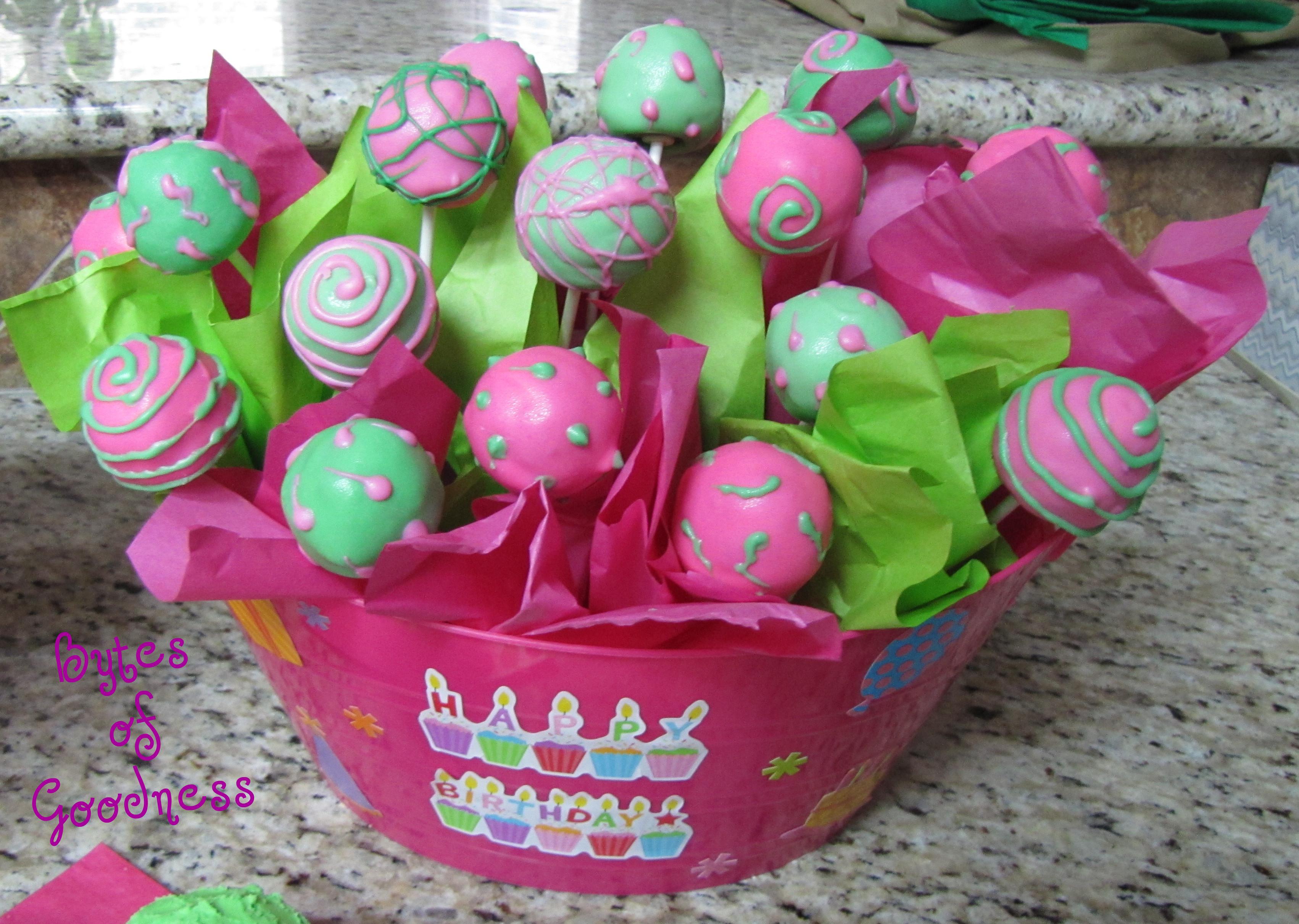 Birthday Cake Pop Arrangement Bytes Of Goodness